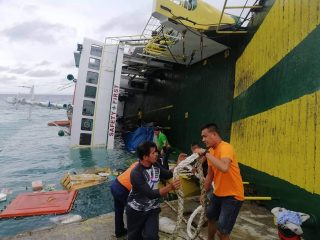 Photo of Two Seafarers Evacuated from Boxship